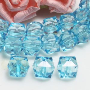 Beads, Imitation Crystal beads, Acrylic, blue, Faceted Cubes, 10mm x 10mm x 10mm, 18g, 40 Beads, (SLZ0543)
